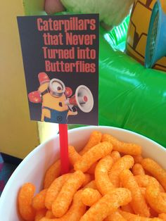 but i would use Pirates booty, peanuts favorite! Despicable Me Party, Minion Party, I Party, Party Ideas, Birthday Parties, Birthday Gifts, Cheetos, Caterpillar, Peanuts