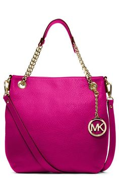 MICHAEL Michael Kors 'Jet Set - Medium' Chain Shoulder Tote in cognac available at michael kors handbags! Sac Michael Kors, Cheap Michael Kors, Michael Kors Outlet, Coach Purses, Coach Bags, Purses And Bags, Coach Shoes, Nice Purses, Tote Bags