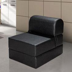 sofa cama preto solteiro de couro