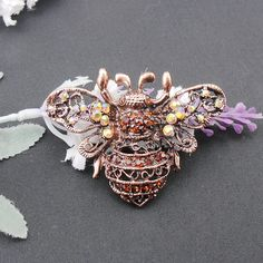 Vintage Red Bronze Plated Bee Rhinestone Crystal Brooch Pin With Yellow AB Color Stones Hot Sale Jewelry, Item NO. : BH7036
