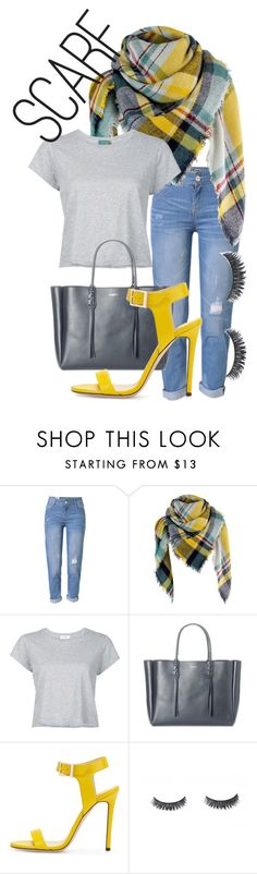 """""""Scarf"""" by victoriaeashlock ❤ liked on Polyvore featuring WithChic, RE/DONE, Lanvin, Jimmy Choo and scarf"""