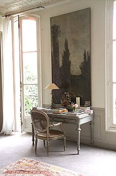 a massive painting behind a gray desk with old rattan french chair with arms try bedroomattractive big tall office chairs furniture