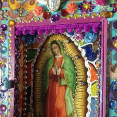 Creating a new custom order nicho based on this past one I created with the lovely iconic Virgen Guadalupe Celtic Prayer, Holly Bible, Faith Crafts, Cigar Box Crafts, Diy Shadow Box, Day Of The Dead Art, Tin Art, Religious Images, Arte Popular