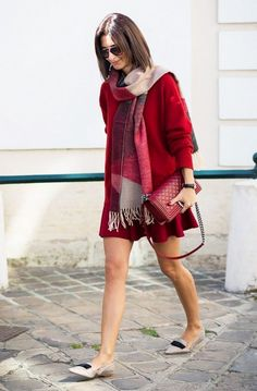 Shop this look on Lookastic:  http://lookastic.com/women/looks/sunglasses-scarf-casual-dress-crossbody-bag-loafers/6536  — Brown Sunglasses  — Red Plaid Cotton Scarf  — Red Knit Casual Dress  — Red Quilted Leather Crossbody Bag  — Grey Leather Loafers