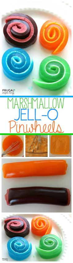 JELL-O Pinwheels aka Monster Tongues made with Gelatin and Marshmallow on Frugal Coupon Living. Fun Kids Food Craft.