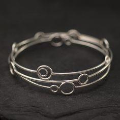 Sterling Silver Bangles- Silver Circle Bangles Set- 3 Sterling Silver Bangle Bracelets- Silver Bracelet- Sterling Silver Jewelry Handmade