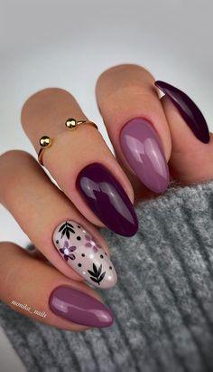 Plum Nails, Purple Nail Art, Purple Nail Designs, Cute Nail Art Designs, Neutral Nails, Nude Nails, Soft Nails, Colourful Nail Designs, Nail Designs For Fall