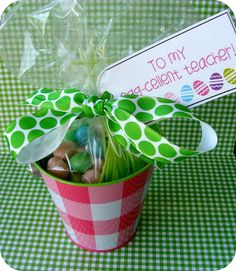 """So cute- love this little gift - To my """"Egg-cellent"""" Teacher for Easter/Spring. Adapt for friends, neighbors, family, co-workers, etc. Hoppy Easter, Easter Gift, Easter Bunny, Teacher Appreciation Gifts, Teacher Gifts, Holiday Crafts, Holiday Fun, Holiday Ideas, Homemade Gifts"""