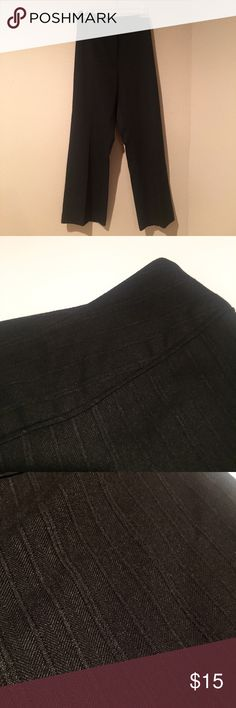 "Black slacks with textured pattern 14P Black trousers with textured pattern. Button and hook closure. Pants are 39.5"" long with 27.5"" inseam. Minor piling on material as shown. Otherwise EUC. Purchased at Dillard's. i.e. Pants Trousers"