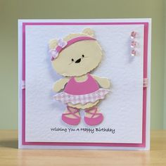 Cute Cards For Every Occasion Handmade In Yorkshire by CraftyCardStudio Cards Diy, Kids Cards, Baby Cards, Handmade Cards, Baby Scrapbook, Scrapbook Cards, Bear Card, Ballerina Birthday, Kids Birthday Cards