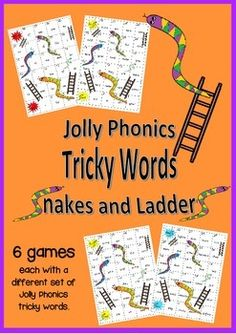 A set of 6 snakes and ladders games that practice the six different groups of Jolly Phonics tricky words. A fun way to learn and practice reading these words.Great for Literacy Centres, group work and fast finishers.More Jolly Phonics games available on my store: Gumball Bingo 1Gumball Bingo 2Gumball Bingo 3Sound Spot 1Sound Spot 2Sound Spot 3Digraphs GameGumball Bingo BundleDinosaur Adventure Tricky words set 1Ocean Adventure Tricky words set 2Wild Animal Adventure Tricky words set 3Aust... Phonics Activities, Learning Activities, Jolly Phonics Tricky Words, Synthetic Phonics, Literacy Centres, Fast Finishers, Group Work, Sight Words, Word Work