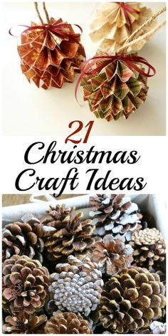 21 Christmas Craft Ideas. These crafts are fun and easy to make. Christmas decoration and DIY Christmas gift ideas. Pine Cones and Snowman, The Flying Couponer | Family. Travel. Saving Money.