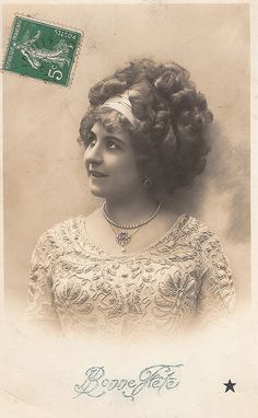 What a fantastic abundance of curls atop this lovely Edwardian gal's head. #hair #Edwardian #woman #vintage #fashion #postcard
