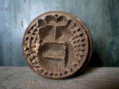 Antique 19thC BUTTER STAMP OWL HEART RADIAL SIGNED AAFA Folk Art Primitive Mold