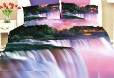 Fialové ložní povlečení s motivem vodopádu