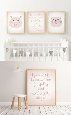 ☆ A Beautiful Nursery Decor Set of 3 Prints for Your Little Girl. Two characters images and one Bible verse.
