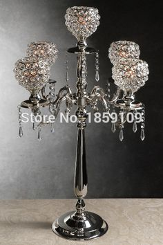 4pcs/lots/5arms globe wedding centerpiece/ crystal wedding decoration/elegant crystal wedding voltive 78CM tall