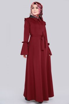 İnci Detay Tesettür Elbise PRM3015 Bordo