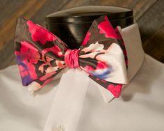 pink funky mens bowtie clip on self tie untied by LookForMeBowties