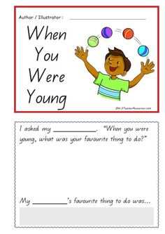 "WHEN YOU WERE YOUNG - AUSTRALIAN CURRICULUM - HISTORY     I asked my ______________ .   ""When you were young, what was your favourite thing to do?""          My ____________'s favourite thing to do was..."