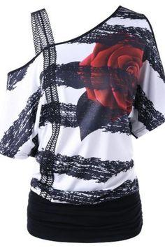 e0fc659cbc Floral Print One Shoulder T-Shirt. Intuitive Fashions