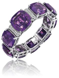 An Amethyst and Diamond Bracelet. Designed as a series of alternating cushion-cut Amethysts, weighing approximately carats total, and pavé-set circular-cut Diamond spacers, mounted in white Gold, length 7 ½ inches. Purple Jewelry, Amethyst Jewelry, I Love Jewelry, Fine Jewelry, Purple Rings, Amethyst Bracelet, Diamond Bracelets, Jewelry Bracelets, Jewellery