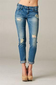 Medium Light Wash Destroyed Boyfriend Jeans – Texas Two Boutique