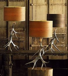 antler lamps with wood veneer shades by gidesigns