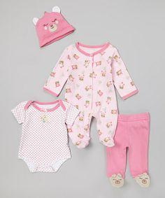 This Pink Teddy Bear Footie Set - Infant is perfect!  zulilyfinds Plüssmackó c1b87ab85
