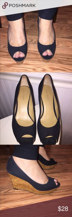"""Nine West black wedge open toe sandals Nine West black wedge open toe shoes size 8 M, wedge is 4"""" high, only worn 2 times, really cute great to wear with jeans or dresses, really cute to dress up any outfit, in excellent condition, no scrapes or tears Comes from pet/smoke free home  Fast Shipping Nine West Shoes Wedges"""