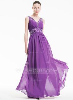 [US$ 168.49] A-Line/Princess V-neck Floor-Length Chiffon Evening Dress With Ruffle Beading Sequins