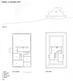 The Architect's Architect: Kazuo Shinohara 'Reductively modernized versions / abstract geometries of the traditional Japanese house. Architecture Drawings, Residential Architecture, Modern Architecture, San Rocco, Section Drawing, Traditional Japanese House, Macro And Micro, Modern House Plans, Tropical Houses