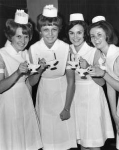 """Capping ceremony"" :: George D. McDowell Philadelphia Evening Bulletin Photographs 1966 at St. Luke's Methodist Church in South Philly. Wish I knew which school--really cool caps! Nursing Pins, Nursing Memes, Funny Nursing, Nursing Schools, Nursing Quotes, Funny Nurse Quotes, Nurse Humor, Images Of Nurses, School Pictures"