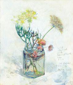 """Wild Carrot, Rock Samphire, Sea Pink, St Agnes"" by Kurt Jackson (acrylic on canvas) Kurt Jackson, Art Floral, Watercolor Flowers, Watercolor Art, Art Gallery Uk, St Just, Jackson's Art, Contemporary Abstract Art, Modern Art"