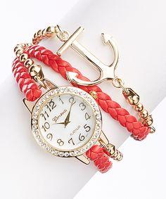 Red & Goldtone Anchor Bracelet Watch