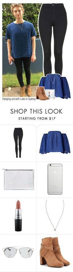 """""""Hanging out with Luke in Sydney   MATCHHHH"""" by sixsensestyles ❤ liked on Polyvore featuring Topshop, Aspinal of London, Native Union, MAC Cosmetics, Banana Republic, Christian Dior and Yves Saint Laurent"""