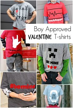 Earlier this week I shared 15 Boy Approved Valentines . Today I am sharing a round up of Boy Approved Valentine T-shirts. As a Mom of a. Valentines For Boys, Valentines Day Shirts, Valentines Day Party, Shilouette Cameo, Valentine Activities, Vinyl Shirts, Tee Shirts, Tees, Valentine's Day Diy