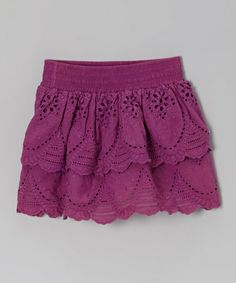 Another great find on #zulily! Plum Lace Eyelet Ruffle Skirt - Toddler & Girls #zulilyfinds