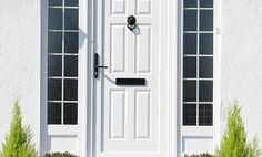 Full Panel uPVC Entrance door in White with side panels Composite Front Door, Aluminium Windows And Doors, Porch Windows, Front Door Entrance, External Doors, Solid Doors, Back Doors, Pvc Ramen, New Homes