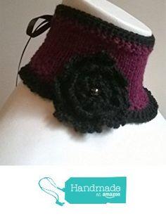 Col tour de cou gothique corset ruban collar choker victorien gothic victorian en laine alpaga au tricot et crochet broche fleur perle pierre GRENAT à partir des LilithCreation-Boutique https://www.amazon.fr/dp/B01M729L6M/ref=hnd_sw_r_pi_dp_yX5eybCNYMYT2 #handmadeatamazon