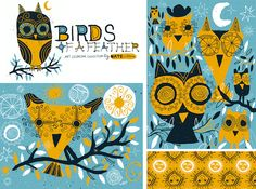 Birds Of A Feather by Nate Williams Illustration - Owl, Sun, Art, Bird, Licensing