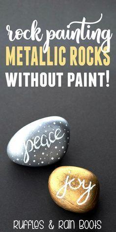 Beginner Tutorial Rock Painting Gold and Silver Metallic Rocks #rockpainting #paintedrocks #kindnessrocks via @momtoelise