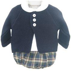 Conjunto de chaqueta de lana, camisa manga larga y short de cuadros XX