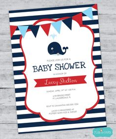Nautical Baby Shower Invitations Whale Baby by FlairandPaper