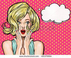 Pop Art illustration, surprised girl. Movie star. Comic woman. Sexy, head, face, love, valentines, joyful, retro, fashion, Sale, discount, amazed, wow, oops, lips, wow, makeup, wonder, Gossip , idea