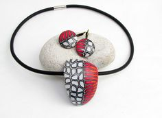 Statement necklace in black and red, unique polymer clay, millefleur, millefiori, fimo, art clay
