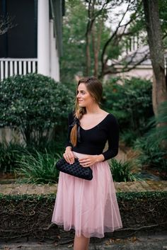 Gal Meets Glam Valentine's Day Date Night - Express sweater & skirt c/o & Chanel clutch