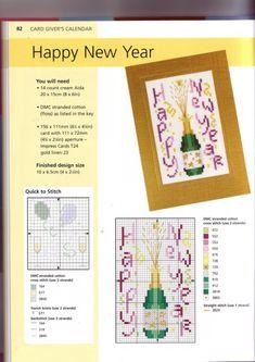 Gallery.ru / Фото #6 - Новый год(разное) - inbal1995 Cross Stitch Cards, Cross Stitching, Homemade Christmas Cards, Straight Stitch, Christmas Cross, Le Point, Birthday Celebration, Happy New Year, Mini