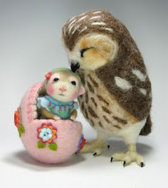 Needle felted wool mouse & owl