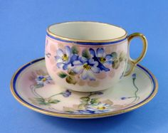 Handpainted Blue Violets Nippon Tea Cup and Saucer Set